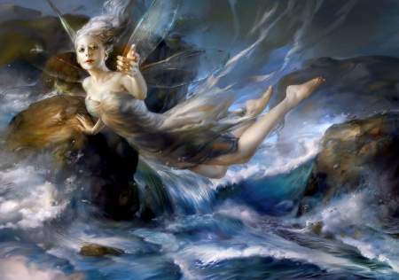 Come With Me - rocks, wings, me, beautiful, floating, come, water, with, siren, fairy