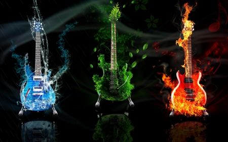 Omnipresent Music - art, fire, water, guitar, nature, beautiful, earth, elements