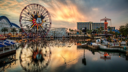 paradise pier in disneyland hdr - amusement park, boats, rides, hdr, sunset, harbor