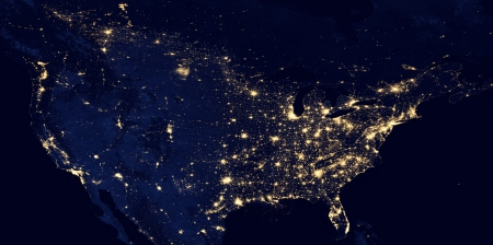North America At Night - mexico at night, america at night, usa from space, canada at night, earth from space, North America At Night