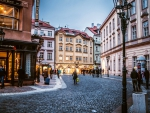 cobblestone street in old prague