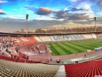 soccer pregame at red star of belgrade stadium hdr