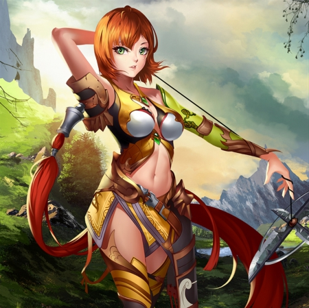 Sexy Warrior - beautiful, stand, anime, hot, beauty, anime girl, scenery, realistic, gorgeous, brown hair, sexy, armor, warrior, girl, standing, awesome, sinister, lady, scene, maiden