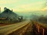 fabulous rustic landscape in fog hdr
