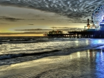 marvelous santa monica pier at dusk hdr