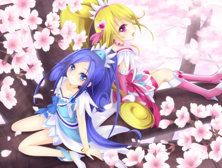 Diamond Heart - pretty, cg, d, adorable, sweet, floral, cherry blossom, nice, pretty cure, anime, anime girl, long hair, sakura, lovely, blonde, sit, precure, awesome, hd, dress, blond, sakura blossom, cure diamond, magical girl, blossom, ir, pink, blue, female, cure heart, blonde hair, blond hair, kawaii, tree, girl, blue hair, flower, sitting