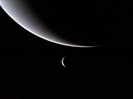 Neptune and Triton - two, cold, blue, moon, planet