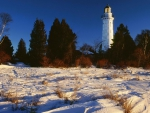 wisconsin lighthouse in winter