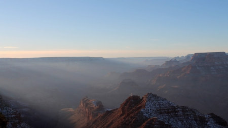 morning fog in the grand canyon  - winter, cliffs, canyon, fog, morning