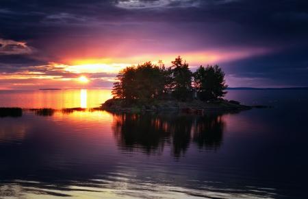 Sunset Over Stone Island Sky Nature Background
