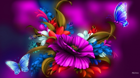 High Velocity - bright colors, flowers, vibrant, colors, pink, floral