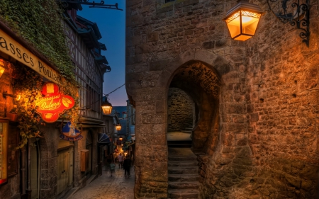 Mont Saint Michel (France) - houses, lamps, France, stairs, lights, portal, arch, signs, Mont Saint Michel, street lights, evening, street, night
