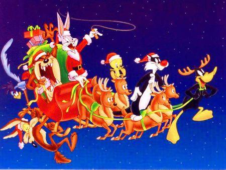 Looney Tunes Christmas - christmas, sylvester, tasmanian devil, reindeer, bugs bunny, presents, sleigh, tweety bird, daffy duck