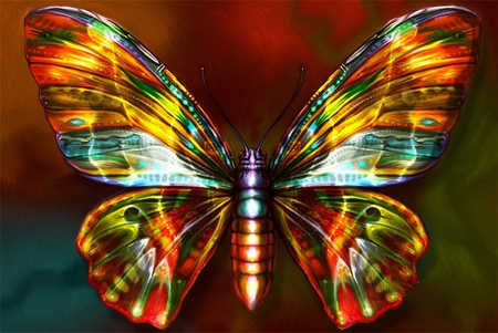 NEON BUTTERFLY - 3D and CG & Abstract Background ...3d Neon Butterflies