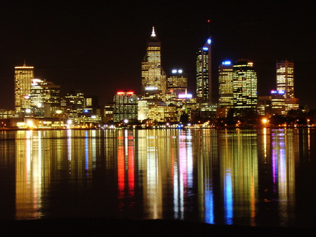 Perth Skyline at night - city, night lights, harbour, buildings, australia, reflection