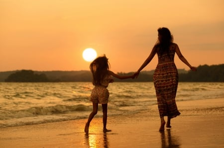 ♥ - sun, pure love, mom, sunset, sky, woman, clouds, sea, beach, sand, splendor, girl, love, nature, child, lady