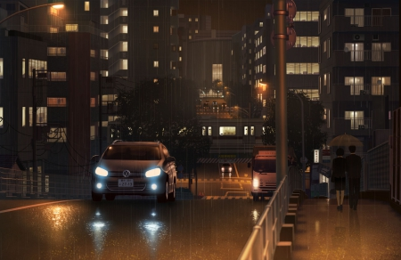 Way To A Rainy Night Other Anime Background Wallpapers On