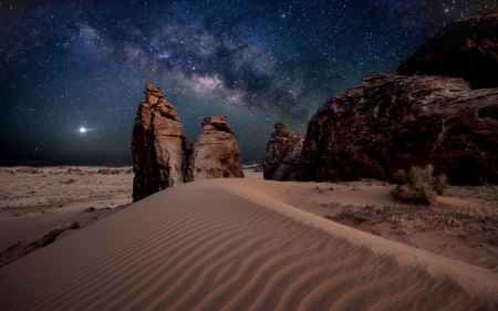 Desert - sand, nature, Desert, night