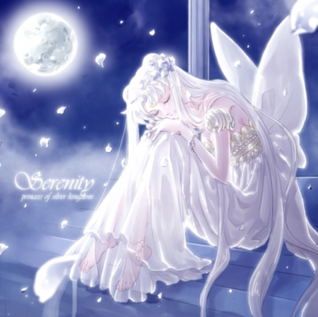 Princess Serenity - pretty, cg, magic, sweet, nice, fantasy, anime, sailor moon, beauty, anime girl, long hair, lovely, twintail, gown, serenity, white, hd, dress, sleep, divine, beautiful, sublime, twin tail, moon, tsukino usagi, sailormoon, gorgeous, usagi, twintails, sleeping, twin tails, princess serenity, tsukino, girl, r, petals, silver hair, princess, angelic