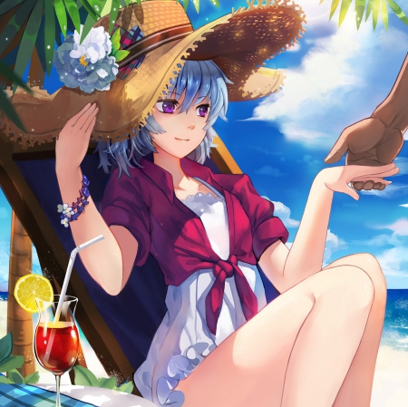 Silver Summer - pretty, hd, cg, beautiful, yin, darker than black, sweet, beach, nice, anime, hand, beauty, anime girl, scenery, cocktail, female, cloud, had, lovely, juice, food, sky, hold, short hair, sit, girl, paradise, blue hair, summer, sitting, tropical, scene