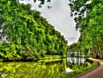 lovely green canal in spring hdr