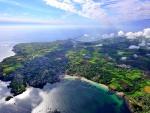 marvelous aerial view of rural coastal community
