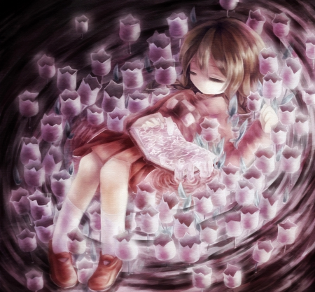 Flower Baby - pretty, sleep, hd, cg, children, beautiful, adorable, floral, sweet, kid, blossom, nice, dres, anime, beauty, anime girl, child, long hair, female, lovely, brown hair, sleeping, baby, kawaii, girl, flower