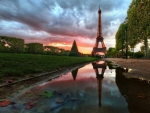 eiffel tower reflected in a puddle hdr