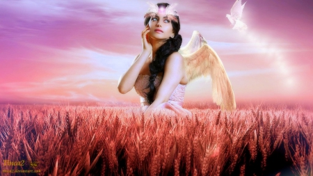 ~Angel of Magic~ - pretty, fantasy girls, softness beauty, digital art, angels, fantasy, beautiful girls, photomanipulation, pink, feathers, wings, models, lovely, colors, love four seasons, birds, creative pre-made, weird things people wear, backgrounds
