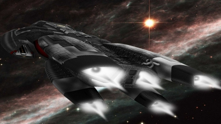Awesome sci fi spaceship - ship, Awesome, star, space