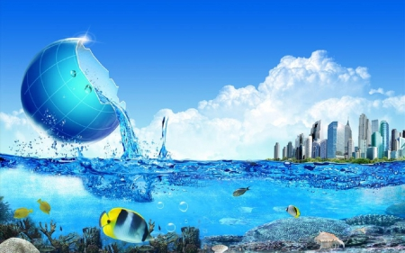 Save ocean - Water, fishes, ocean, Shell, sea