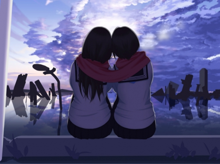 Lovely Evening - pretty, friend, beautiful, adorable, sweet, nice, anime, friendship, love, beauty, anime girl, evening, scenery, night, female, cloud, lovely, sky, happy, hug, kawaii, girl, dark, scarf, scene
