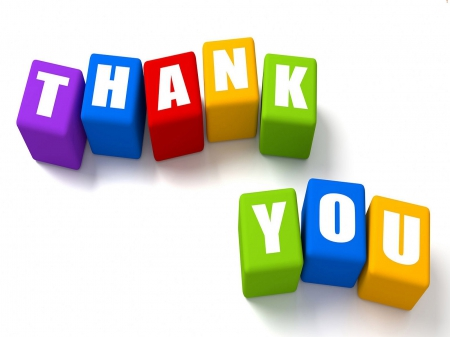 Thank you in block letters - 3D and CG & Abstract Background