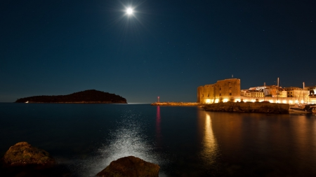moonlight over dubrovnik seaside - stars, light, city, night, sea, moon, coast