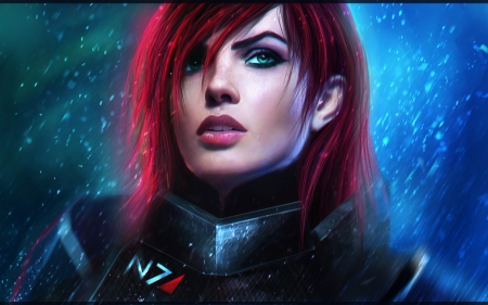 Jane Shepard - art, redhead, game, Jane Shepard, woman, lino, fantasy, girl, mass effect, digital, blue