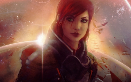 Jane Shepard - art, orange, redhead, game, Jane Shepard, woman, fantasy, girl, mass effect