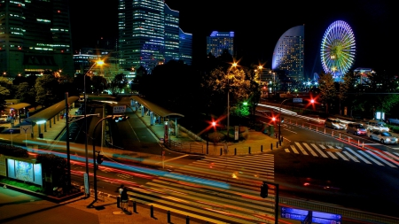 beautiful cityscape of a japanese city at night - amusement park, city, streets, lights, night