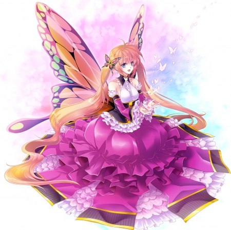 Mariposa - wonderful, cg, adorable, wing, butterfly, anime, beauty, anime girl, long hair, wings, twintail, gown, lying, blonde, smiling, happy, sit, awesome, mariposa, maiden, hd, dress, blond, divine, beautiful, sublime, elegant, twin tail, release, pink, gorgeous, female, spendid, blonde hair, smile, freedom, twintails, butterflies, plain, twin tails, blond hair, kawaii, fly, girl, simple, sitting, lady