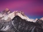 magenta sky above a beautiful mountain