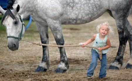 COME ON - kid, come, girl, people, horse, animals