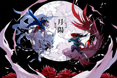 Duel! - red, fish, anime boy, animal, moon, flowers, anime girl, weapon, sword, light, blue, night, female, sky, cool, dark, fight, amle, awesome, petals, wolf, duel, mask