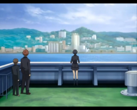 City View - house, otonashi saya, sweet, oceao, nice, boat, anime, anime girl, look, blood plus, lovely, town, saya otonashi, sky, building, bloodplus, scenic, saya, home, watching, sea, city, otonashi, scenery, female, cloud, male, kai, boy, girl, ship, riku, looking, scene