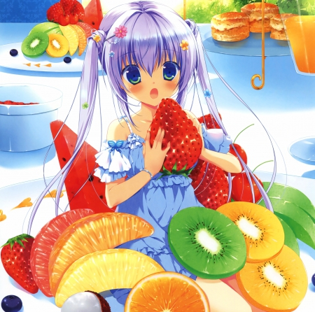 Fruits - red, pretty, dress, orange, kiwi, fruits, beautiful, woman, sweet, green, anime, strawberries, beauty, long hair, blue eyes, blue, table, art, female, lovely, food, purple hair, twintails, cute, tiny, girl, plate, lady, white