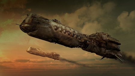 Steampunk Battleship - two, flying, Steampunk, battleship, clouds