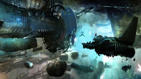 Trek Space Ship Concept Art - concept, ruin, ship, people, space