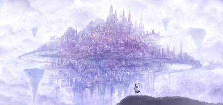Fantasy Landscape - beautiful, soft, abstract, sweet, cute, fantasy, city, girl, purple, beauty, blue