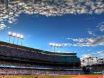 dodgers baseball stadium at sundown