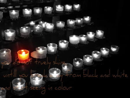 once again, a quote to do with candles - candle, burn, orange, black and white, words, black, switzerland, candles, fire, inspirational, quote, dark, white, light