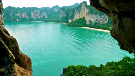 West Railay Beach - forest, white sand, Thailand, beautiful, sea, beach, cliffs, paradise, summer, green water, tropical
