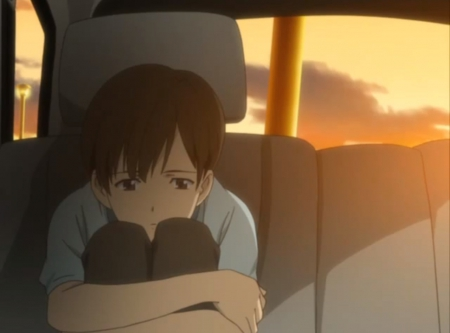 Sadness - guy, sweet, nice, anime, gloomy, blood plus, male, lovely, brown hair, gloom, short hair, hug, boy, cool, emnotional, sad, sorrow, sitting, riku, bloodplus, scene, serious